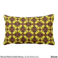 Red and Yellow Double Pattern 1 Throw Pillows