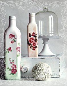 garrafas: pintura em vidro e decoupage