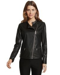 Jeweled Faux-Leather Jacket  #chicossweeps