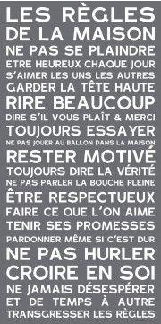 Tableau canvas Home rules Gris Smart Tiles, Quote Citation, House Rules, Canvas Home, Positive Attitude, Home Deco, Slogan, Decir No, Feel Good