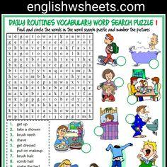 Daily Routines Esl Printable Word Search Puzzle Worksheets For Kids (5 sets) #daily #routines #dailyroutines #dailyroutinesesl #eslworksheets #eslpuzzles #esl #printable #wordsearch #puzzle #Worksheet #kids #forkids #languagearts #englishwsheets #learnenglish #teachenglish #classroom #efl #esol #tesol #tefl #tesol