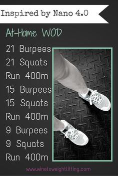 AD. #nano4 inspired WOD: Crossfit At Home WOD: Inspired by my new #nano4, I created a workout to test them out. 21 burpees, 21 squats, run 400m, 15 burpees, 15 squats, run 400m; 9 burpees, 9 squats, run 400m. For more Crossfit-related posts check out @winetoweights at www.winetoweightlifting.com @reebok #fitfluential