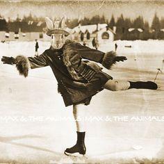 Recolored Rabbit - Anthropomorphic Winter sport Digital vintage portrait Ice skater. Seller maxandtheanimals  via Etsy.