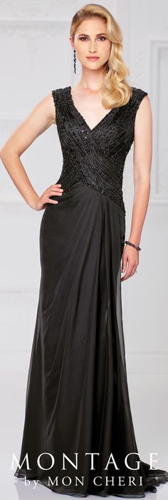 Formal Evening Gowns by Mon Cheri - Spring 2017 - Style No. 117905 - black chiffon evening dress with hand-beaded bodice and cap sleeves