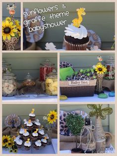 My sister-in-law wanted a giraffe theme babyshower, so that's what I gave her.  She also loves sunflowers too and I added that as well.  Oh yeah, the burlap & wine bottles decorated with twine was an extra, lol....... Love my family :-)