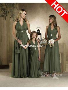 olive green bridesmaid dresses | Tamanho free manga v- pescoço halter chiffon plissado azeitona verde ...