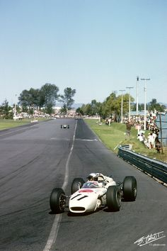 Ginther 1965 Mexico - Honda RA272: First F1 win for Honda, and Ritchie Ginther, and the last race of the 1.5-liter era.  Honda's tiny V 12 was making 220 horsepower from its 1500cc.