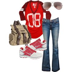 game day! can't go wrong with jeans and a t-shirt!
