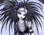 The Well Tribal Fusion Water Priestess Panther Fae Signed Fine Art Print