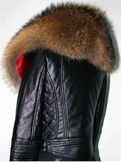 leather jacket w/serious fur collar