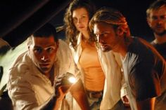 Still of Matthew Fox, Josh Holloway, Dominic Monaghan and Evangeline Lilly in Lost