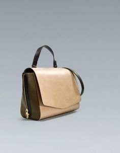 Nude + olive messenger bag with zips