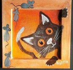 Chat et souris (sur bois)