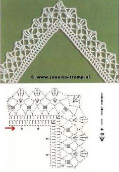 Pattern diagram for pretty crochet edging. Neat idea for dish-cloths, tea-towels, coasters and + Crochet Free Edging Patterns You Should KnowCrochet Beautiful Boarderscould Be PutAdd Borders to your blankets and afghans!Crochet Symbols a Crochet Border Patterns, Crochet Boarders, Crochet Lace Edging, Crochet Motifs, Crochet Diagram, Crochet Chart, Filet Crochet, Crochet Designs, Crochet Doilies