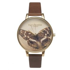 Olivia Burton Woodland Butterfly Brown & Gold Ladies Strap Watch