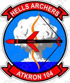 M.C. Graphic Decals - STICKER USN VA 104 HELLS ARCHERS, $3.00 (http://www.mcgraphicdecals.com/sticker-usn-va-104-hells-archers/)