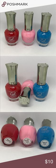 KLEANCOLOR Gel Nail Polish Cosmetic 3 (15 ml) full size bottles of authentic KLEANCOLOR  This gel polish does not require a special lamp Colors as pictured  Lot1 Makeup