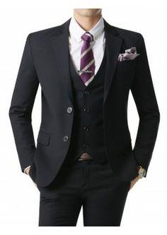 Doublju Men's 2 Button Suit Blazer Jacket Matte Navy Plus size (KMOBL022BIG)