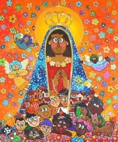 Nossa Senhora Aparecida por Andreza Katsani Painting, Jesus Tattoo, Saint George, Religious Art, Canvas Art, Frames, African, Pictures, Painting Art