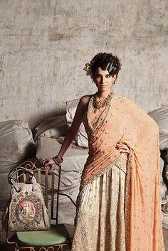 Krishna Mehta peach lengha - love this shoot! http://desiactressespics.blogspot.com/