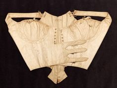 Corset | RISD Museum - Mills Junr., ca. 1804, English, manufacturer; ca. 1795 cotton; silk Vintage Corset, Vintage Underwear, 1800s Fashion, Diy Fashion, Casual Outfits, Cute Outfits, Period Outfit, Fashion History, Traditional Outfits