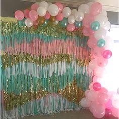 Confetti Streamer Backdrop Balloon Garland - Creativity Made Easy Rainbow Party Decorations, Balloon Decorations, Birthday Decorations, Rainbow Parties, Halloween Decorations, Streamer Backdrop, Party Streamers, Streamer Ideas, Party Kulissen