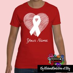 Heart Awareness Ribbon For Heart Disease, Stroke, Vasculitis, Blood Cancer, AIDS and Other Causes