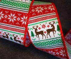 """Nordi Scandi Deer and Stars White Green Red 2.5"""" Wide Wire Edged Ribbon Trees Houses Christmas Birthday Parties Tinsel Bows by RibbonQueenUK on Etsy Christmas Birthday Party, Birthday Parties, Christmas Wired Ribbon, Glitter Ribbon, Ribbon Design, Jack Skellington, Blue And Silver, Deer, Christmas Crafts"""