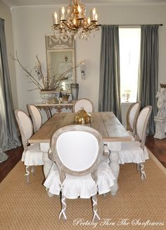 Another view of grey and white dining room from Peeking thru The Sunflowers blog