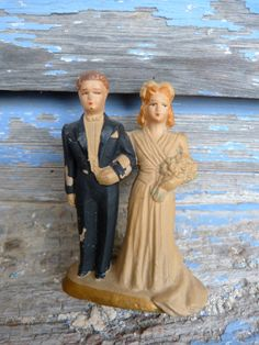 Vintage 1940 / Wedding Cake Topper 40s / Bride by petitbrocante