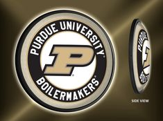 Purdue Boilermakers Slimline Illuminated Wall Sign Featuring Their Primary P Athletic Logo - Made in USA Purdue University, Wall Signs, Man Cave, Dorm, Garage, Fans, Hardware, Usa, Gift