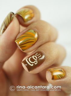Mocha coffee nail art.