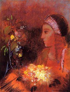 Femme en rouge aux fleurs jaunes par Odilon Redon