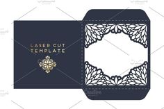 Vector wedding card laser cut template with mandala by ViSnezh on @creativemarket
