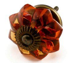 Set/4 Old Amber Glass Cabinet Knobs by PoshHomeDecorAndMore, $18.00