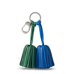 Two tassels keyring green/blue Leather Gifts, Leather Key, Leather Tassel, Leather Purses, Leather Accessories, Leather Jewelry, Military Messenger Bag, Minimalist Bag, Linen Bag