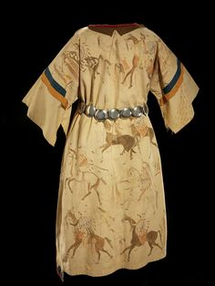 Hunkpapa dress with war honor drawings. NMAI