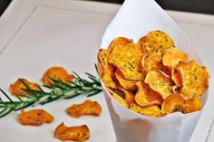 Sweet Potato Chips - Home made sweet potato chips with cumin and rosemary.
