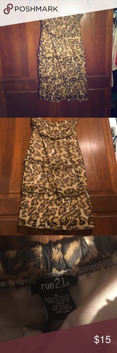 Leopard Print Strapless Dress Ruffles Rue 21 Small Leopard Print Strapless Dress Ruffles Rue 21 Small Rue 21 Dresses Strapless