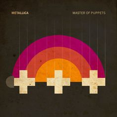 metallica: master of puppets - minimalist album cover redesigns by Ty Lettau crosses rainbow record Master Of Puppets, Album Design, Radiohead, Pink Floyd, Metallica, Cover Art, Minimalist Music, Minimalist Style, Pochette Album