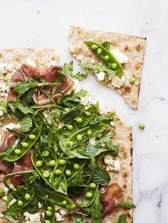 Flatbread with ricotta, prosciutto and snap peas