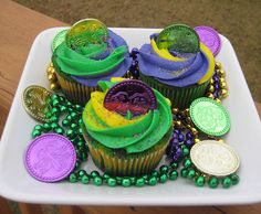 Mardi Gras Cupcakes that I made for my son's class.