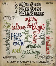 660058 Tim Holtz holiday words script thinlits - available September