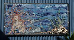 Bev Plowman, gardenMermaid mosaic, tiles, glass, shells, beads and mirror