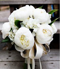 white and green Peony Bouquet with long ribbons