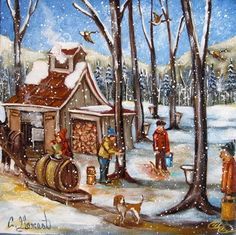 It's the scattering of snow, the wood smoke in the air and the eager souls! Primitive Painting, Tole Painting, Painting & Drawing, Painting Styles, Illustration Noel, Illustrations, Perfect Peace, Farm Art, Nature Tree