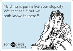 My chronic pain is like your stupidity, we can't see it but we both know its there!!