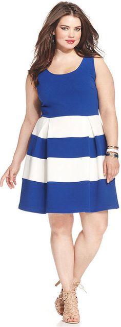 Soprano Plus Size Colorblocked Skater Dress #plussize