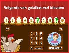 Volgorde van getallen met kleuters  op digibord of computer  op kleuteridee.nl, Kindergarten educative game for IBW or computer