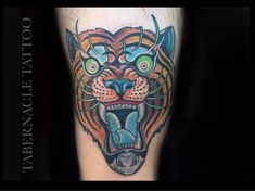Colorful Traditional Tiger Tattoo